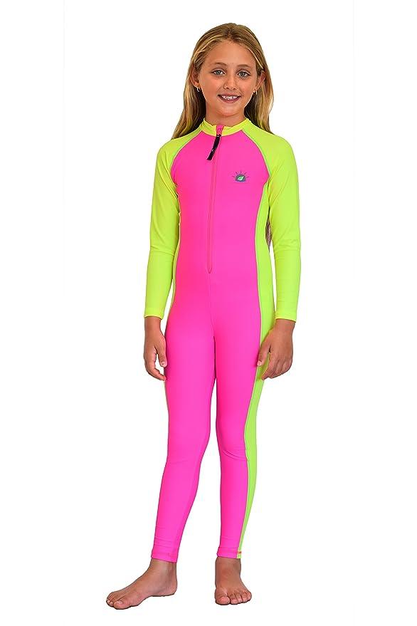 6ae33ec26b576 Girls Full Body Swimsuit Stinger Suit Sun Protection UPF50+ Pink Yellow