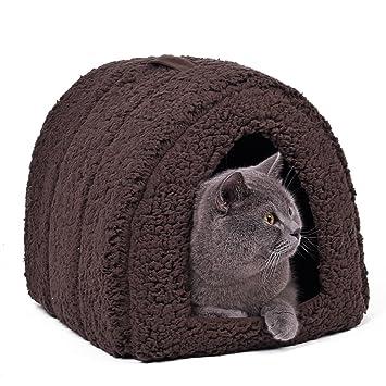 PAWZ Road Cama para mascotas, cama solida con forro polar con asa superior ultrasuave y