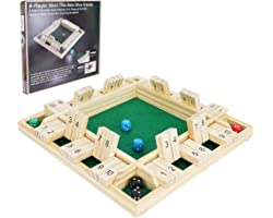 Win SPORTS Shut The Box Dice Game,Wooden Board Table Math Game for 1-4 Players,Classic Family Game with 12 Dices for Kids Adu
