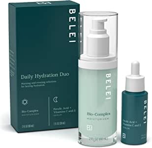 Belei 'Daily Hydrating' Duo Kit (Bio-Complex Moisturizer and Ferulic Acid + Vitamins C & E) Helps with Fine Lines, Hydration, and Uneven Skin Tone (Value at $75)