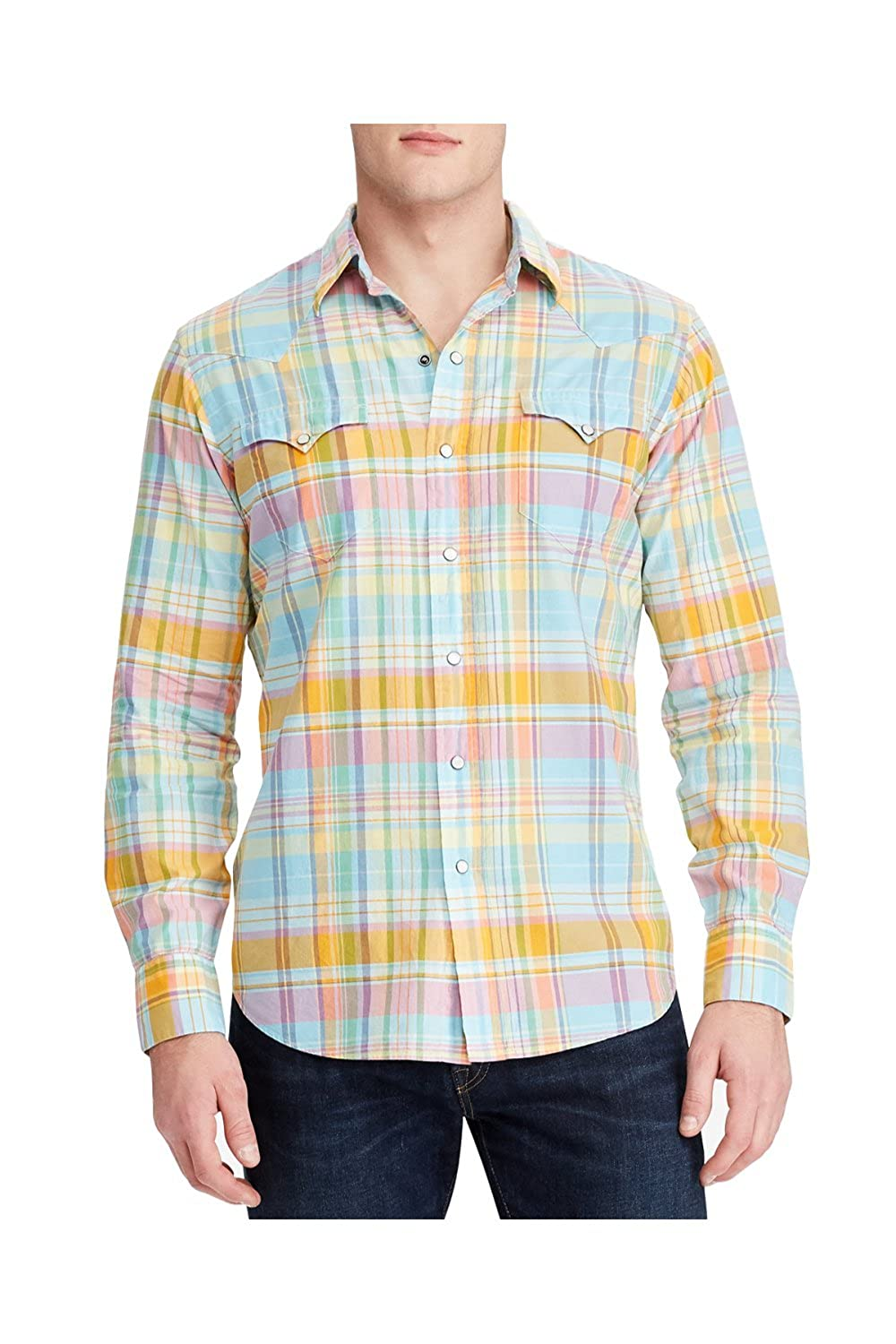 Western Polo Plaid Lauren Ralph ShirtlargeOrangeAt Men's tsdhrQCBx