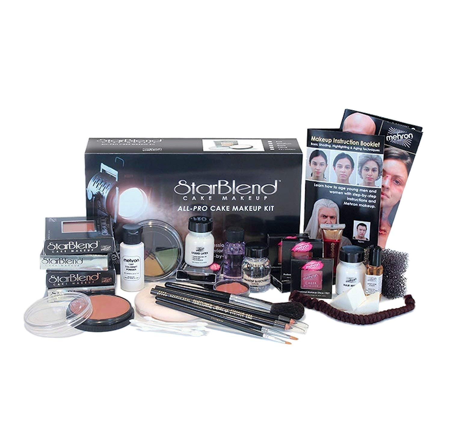 Mehron StarBlend Cake Makeup - All-Pro Makeup Kit - Everything A Professional Makeup Artist Needs For Stage, Film, Video & Photography - Step-By-Step Instructions Included - For''TV/Video''