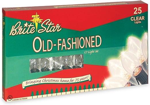 Brite Star 25 Count Ceramic C7 Old Fashioned Light Set Green Wire Multicolor