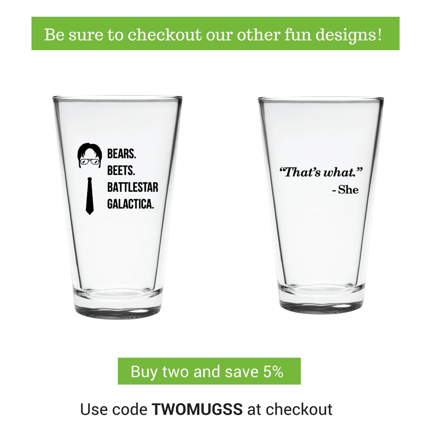 The Office Funny Beer Glass | Merchandise Mug''Bears Beats Battlestar Galactica'' | Dwight Schrute Quote Craft Beer Glasses by Vivid Ventures (Image #3)