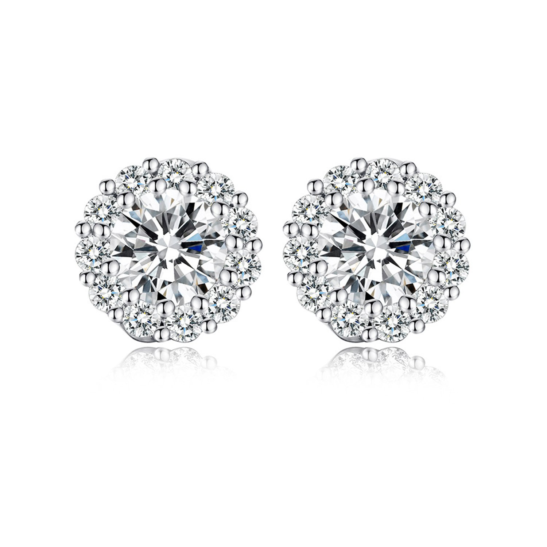 Ginasy Round CZ Studs Earrings - Cubic Zirconia Genuine Platinum Plated Retro Fine Jewelry for Women Girls