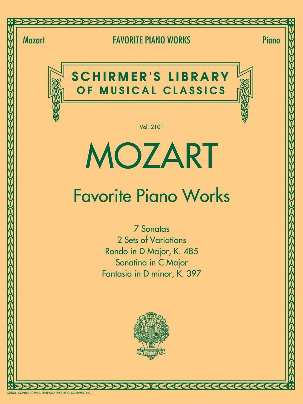 G. Schirmer Mozart Favorite Piano Works Schirmer's Library of Musical  Classics Vol. 2101: G. Schirmer: 0884088862572: Amazon.com: Books