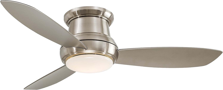 Minka-Aire F518-PARENT、Concept IIフラッシュマウントシーリングファン 照明とリモコン付き 52-inch,Brushed Nickel (LED Light)   B06XXRWSWL