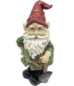 """FICITI Garden Gnome Statue 10"""" - Outdoor Garden Gnomes - Lawn Gnome (Green)"""