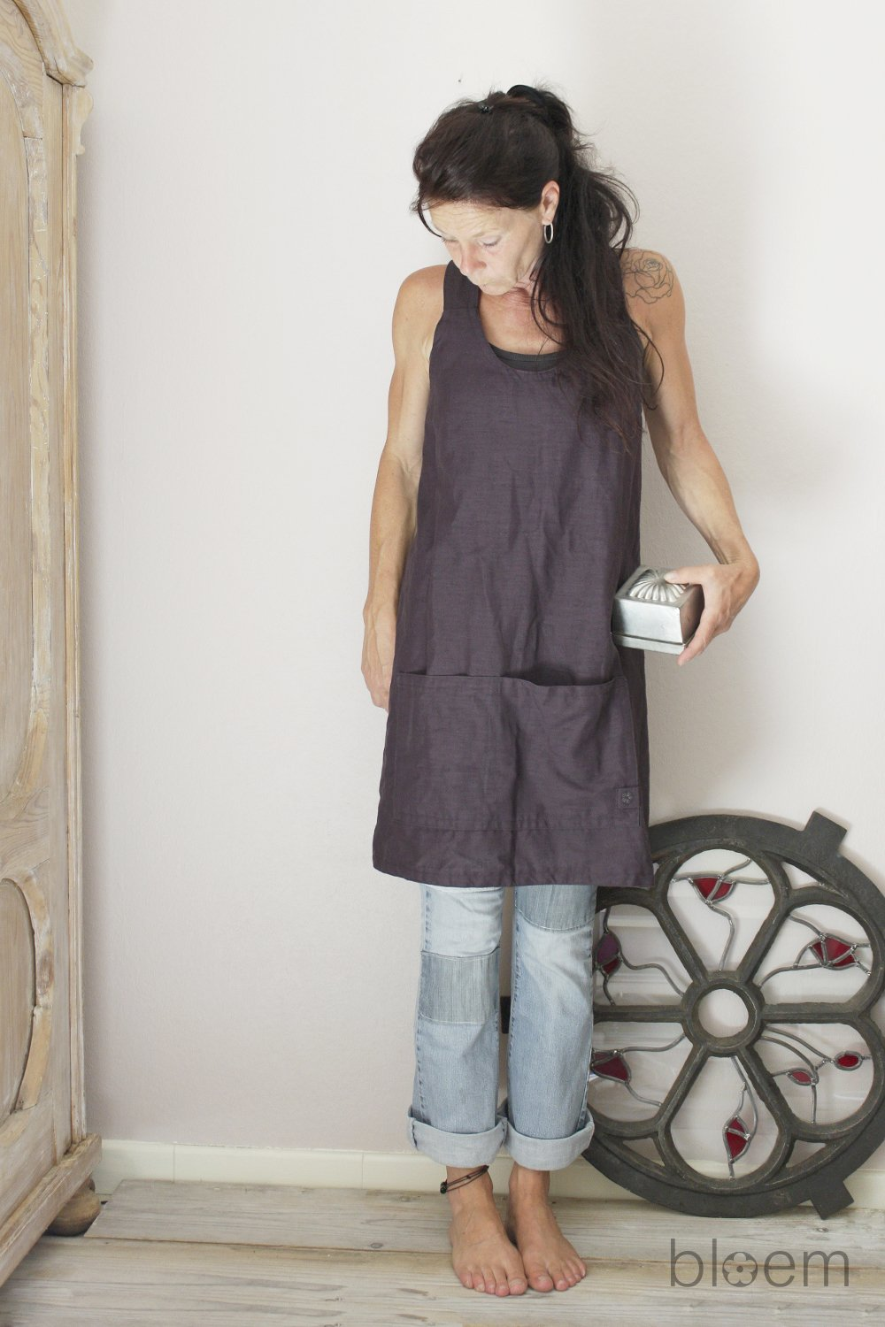 Linen apron in Plum, Pinafore, Cross back linen apron, Eco friendly