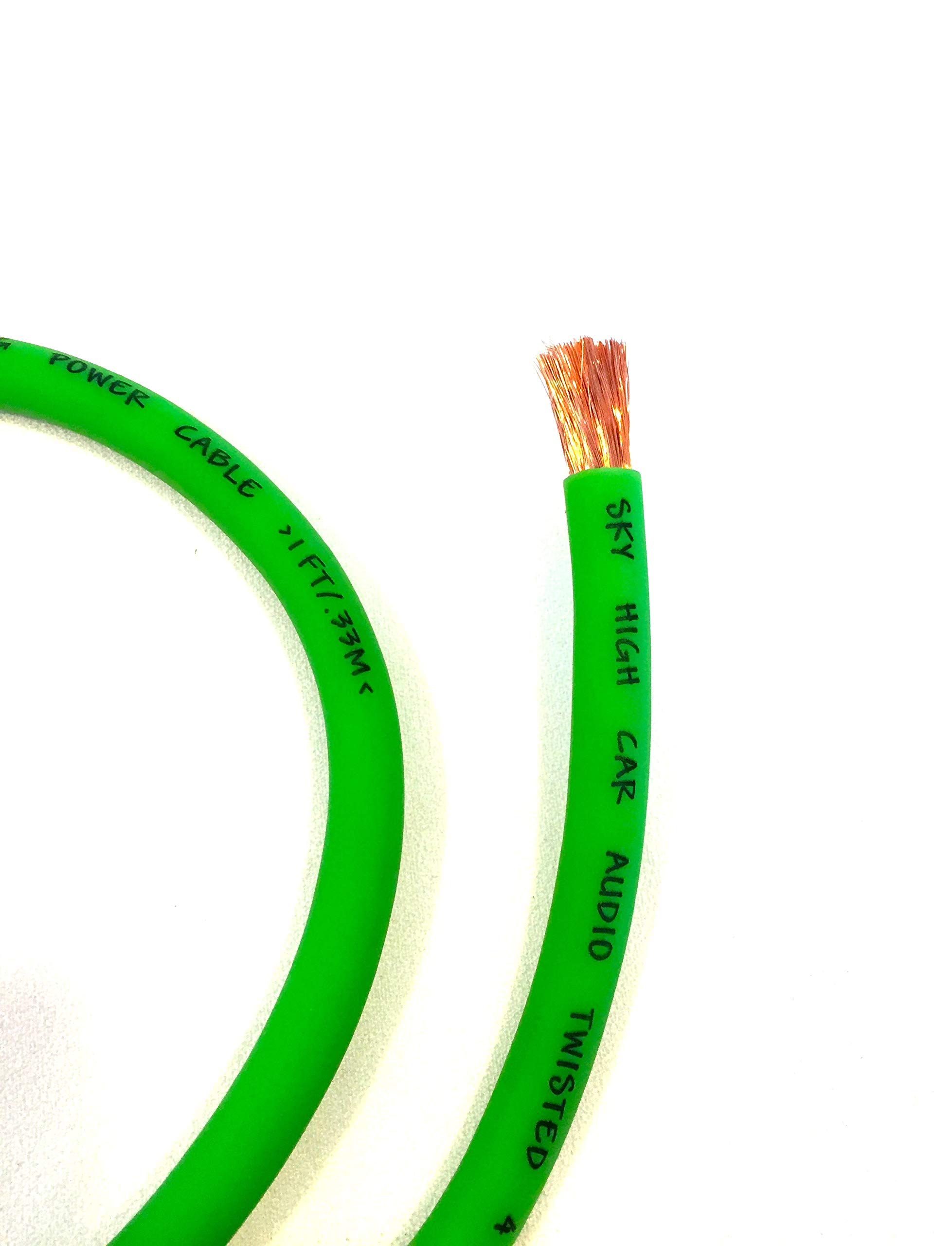 OFC 4 Gauge AWG Green Power Ground Wire Sky High Car Audio Sold by The Foot ft