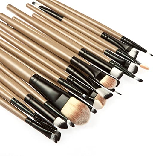 1c53939860f5 Freedi 20Pcs Pro Makeup Brush Set Cosmetics Foundation Blending Eyeliner  Powder Face Brush Tools Gold Black