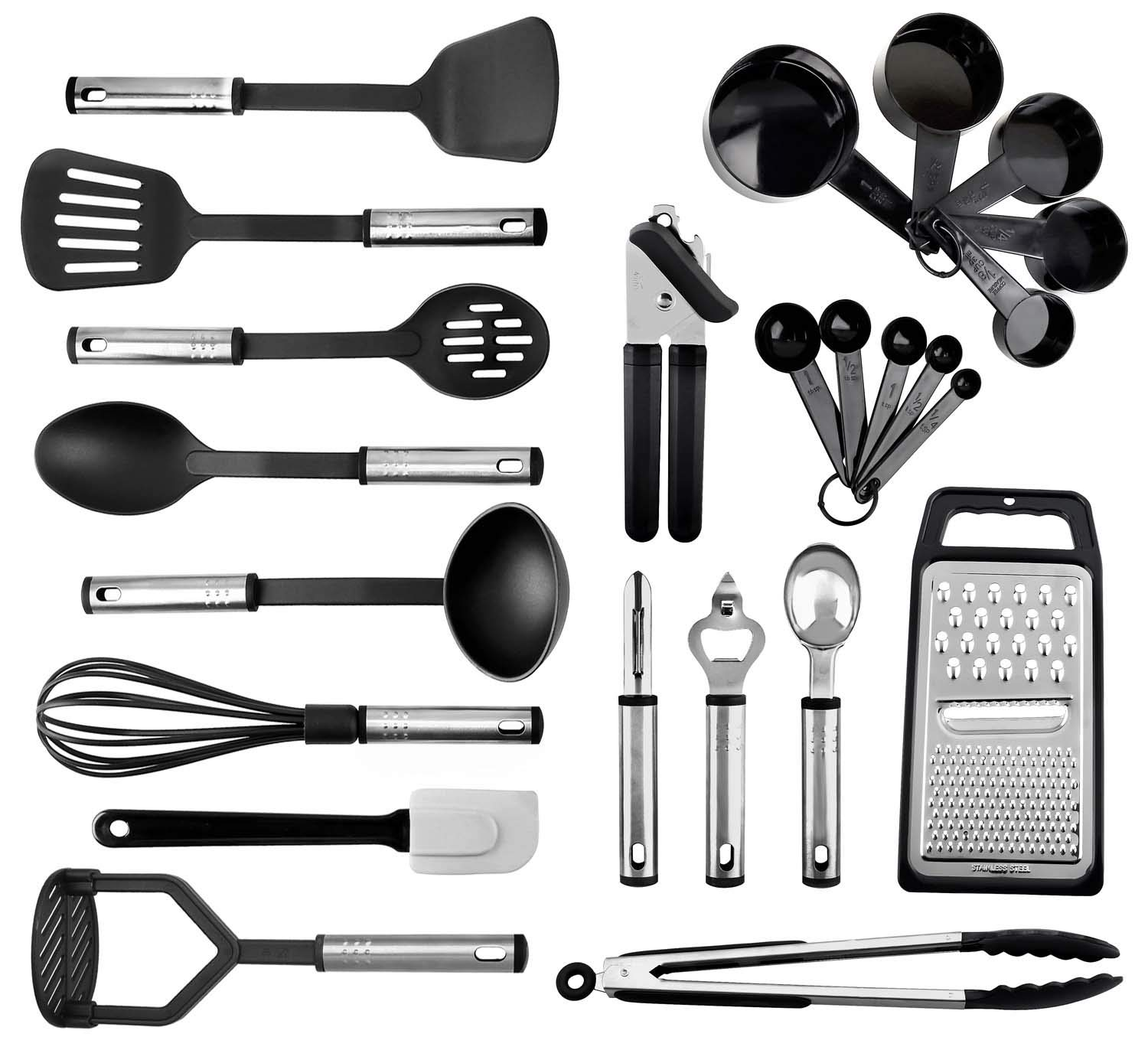 Kitchen Utensils set - 24 Nylon Stainless Steel Cooking Supplies - Non-Stick and Heat Resistant Cookware set - New Chef's Kitchen Gadget Tools Collection - Best for Pots and Pans - Great Holiday Gift