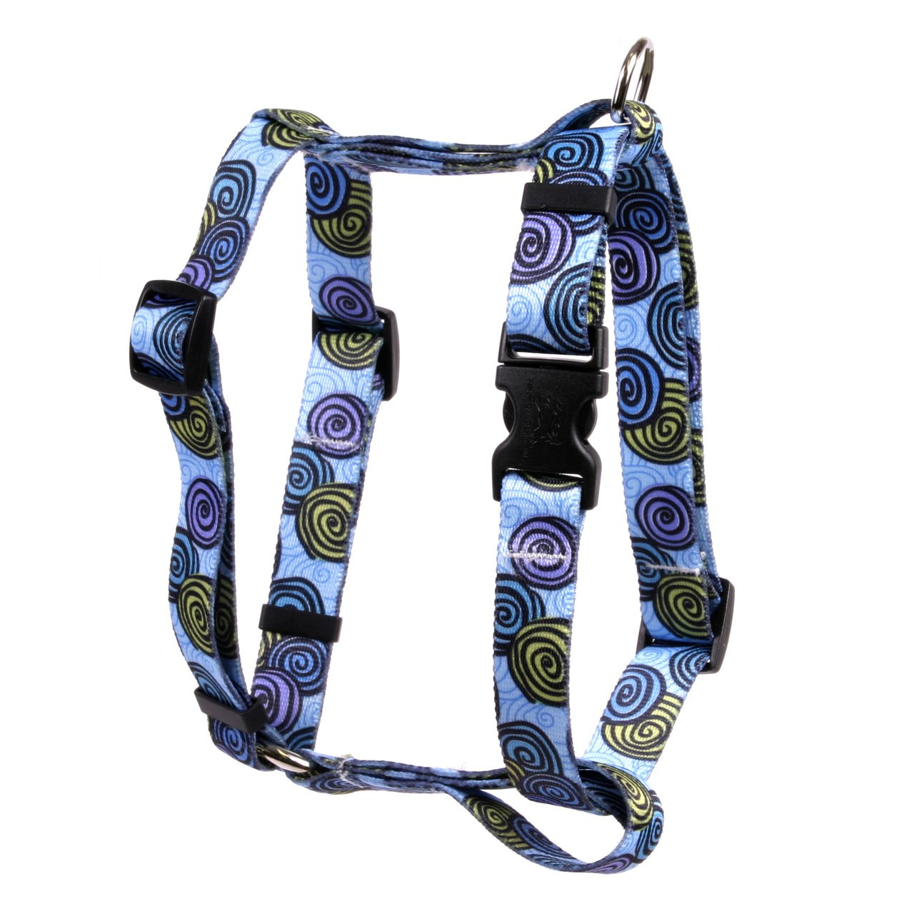 Yellow Dog Design Spirals Blue Roman Style H Dog Harness-X-Large-1'' and fits Chest Circumference of 28 to 36''