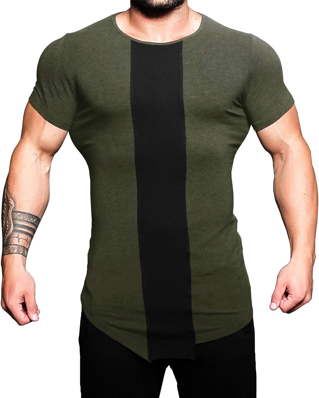 URRU Mens Quick Dry Fit Gym T-Shirts Short Sleeve Contrast Color Athletic Workout Shirt S-XXL