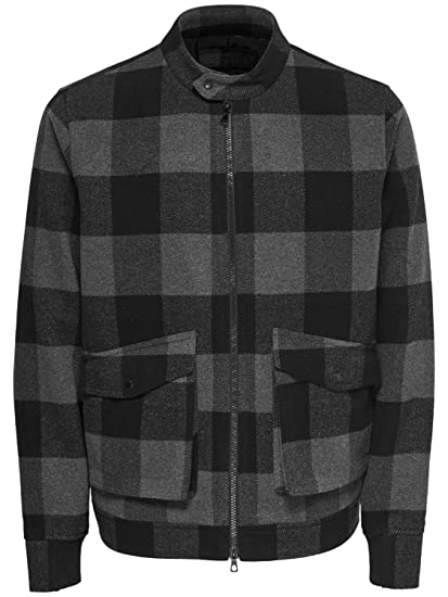 64ad59719 Only   Sons - Jacket - Aksel Wool Mix Bomber - Black  Amazon.co.uk ...