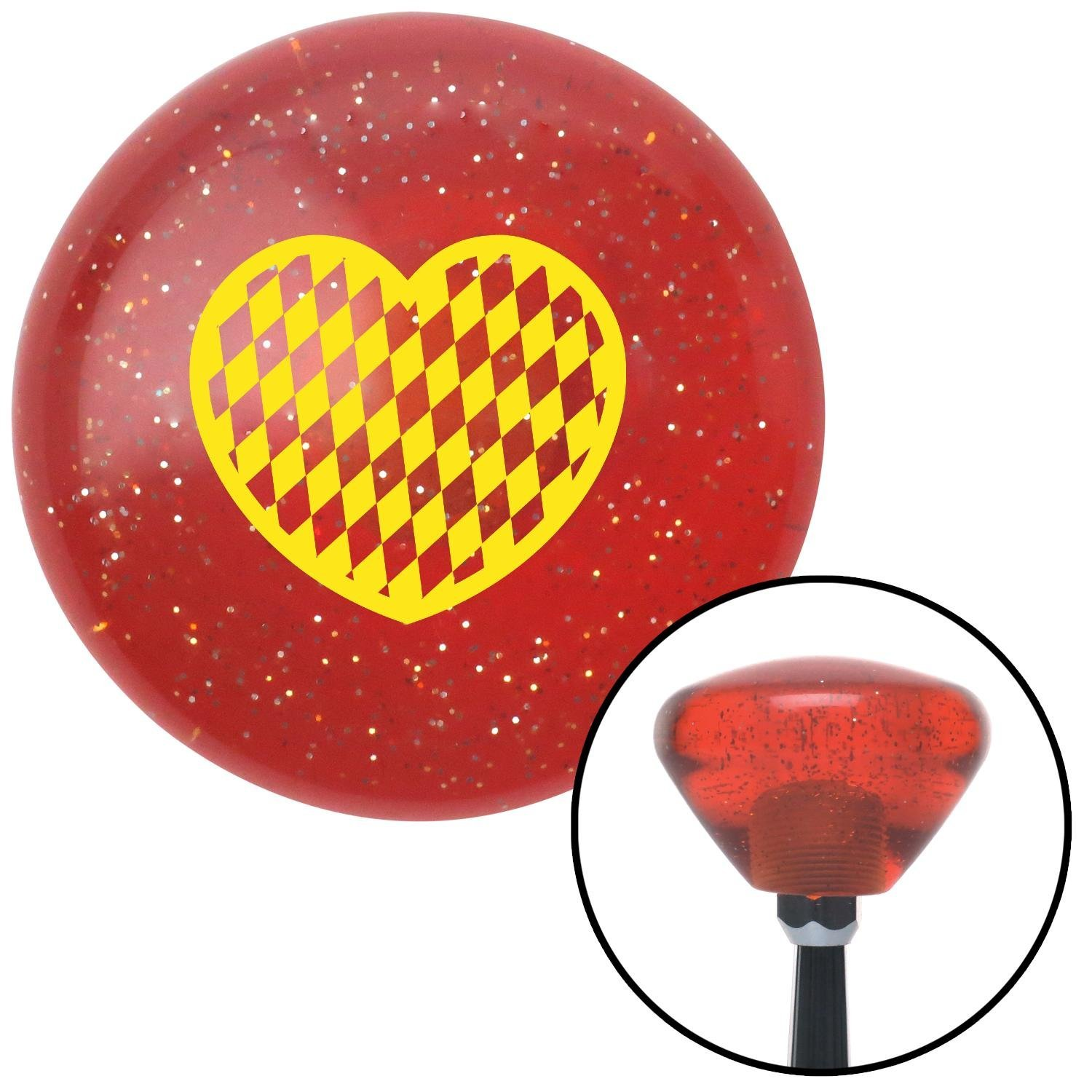 Yellow Checkered Heart American Shifter 177592 Orange Retro Metal Flake Shift Knob with M16 x 1.5 Insert