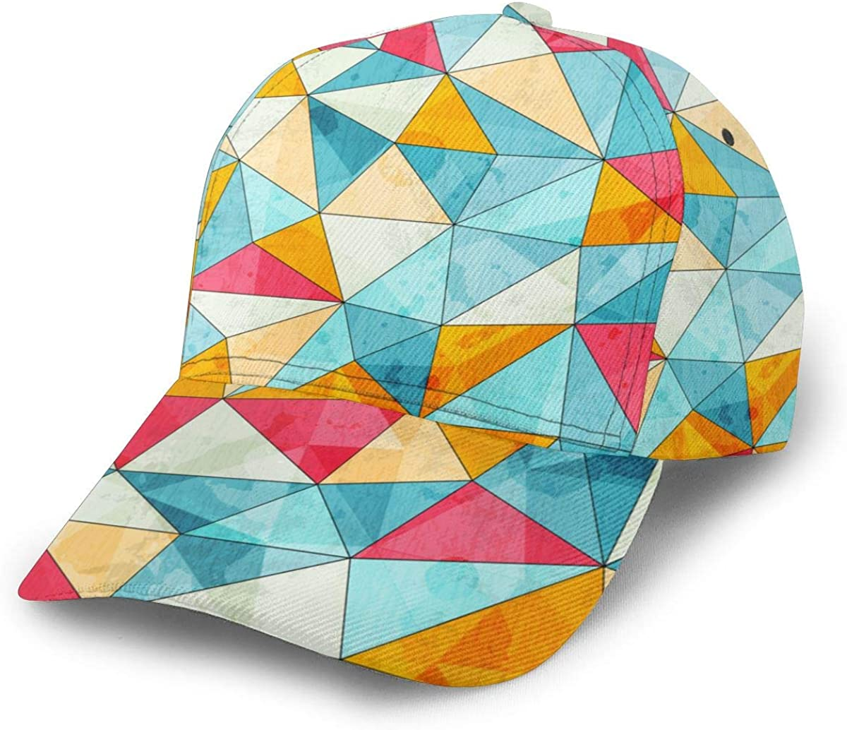 Colored Triangles Girl Classic Hip Hop Baseball Cap 100/% Cotton Unisex Soft Adjustable Size Black