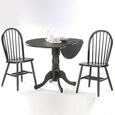 Sensational International Concepts 3 Pc Round Dual Drop Leaf Dinette Table And Chair Set Cjindustries Chair Design For Home Cjindustriesco