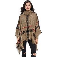OMOLA Sweater for Women Turtleneck Tassel Cape Sweater Women's Knitted Cashmere Turtleneck Poncho Wrap Sweater Cape
