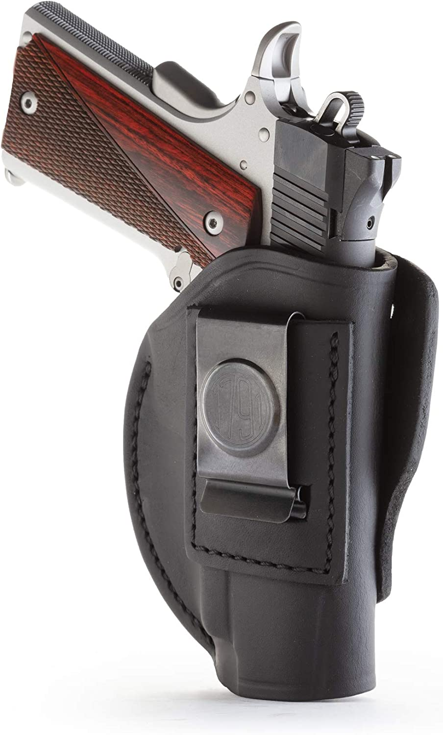 1791 GUNLEATHER 4-Way 1911 Holster - OWB and IWB CCW Holster - Right Handed Leather Gun Holster - Fits All 3 and 4 inch 1911 Models SIG, COLT, Kimber, Ruger, Browning, Taurus