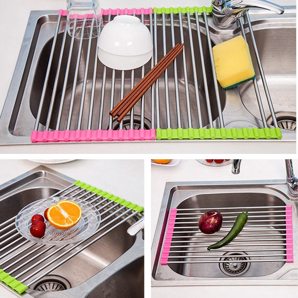 Stainless Steel Colander Holder Storage Drainboard Folding Over Strainer Multipurpose Drainer Tray Sink Roll Up Dish Drying Rack -Pier 27