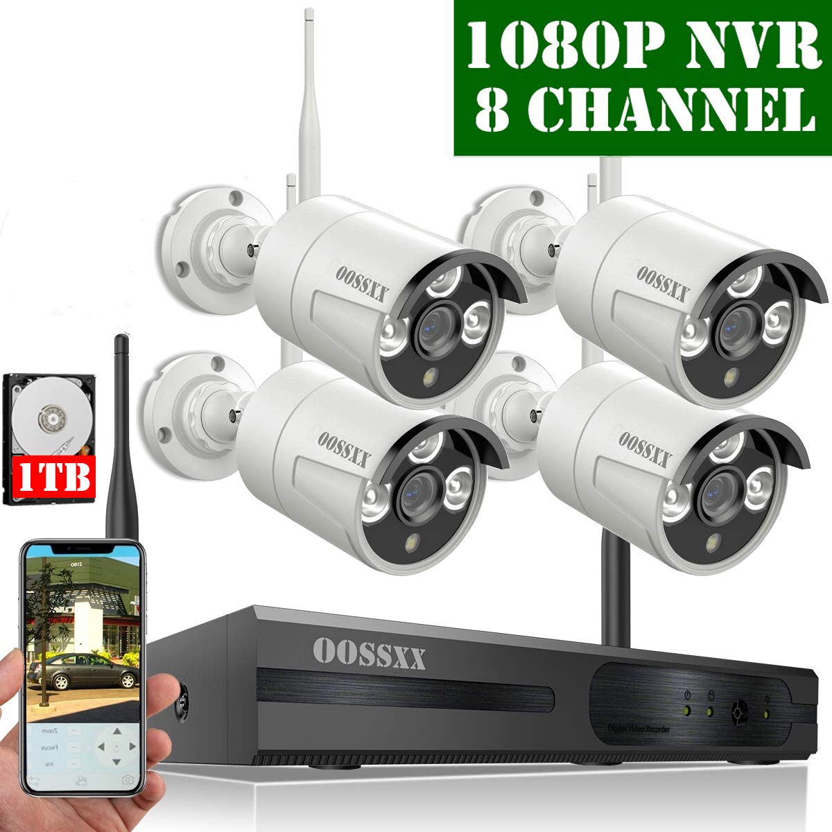 【2019 Update】 HD 1080P 8-Channel OOSSXX Wireless Security Camera System,4Pcs 720P(1.0 Megapixel) Wireless Indoor/Outdoor IR Bullet IP Cameras,P2P,App, HDMI Cord & 1TB HDD Pre-Install by OOSSXX