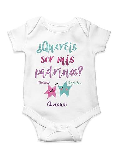 Body Bebé unisex ¿quereis ser mis padrinos? personalizado con nombres: Amazon.es: Handmade