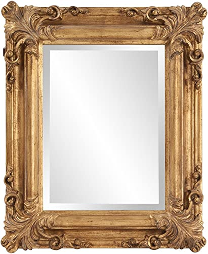 Howard Elliott Edwin Hanging Rectangular Accent Wall Mirror, Rustic Antique Gold, 19 x 23 Inch