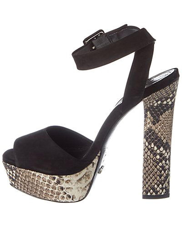 Schutz Amatista Summer Snake Pearl Platform Block Heel Ankle Strap Sandal Heels