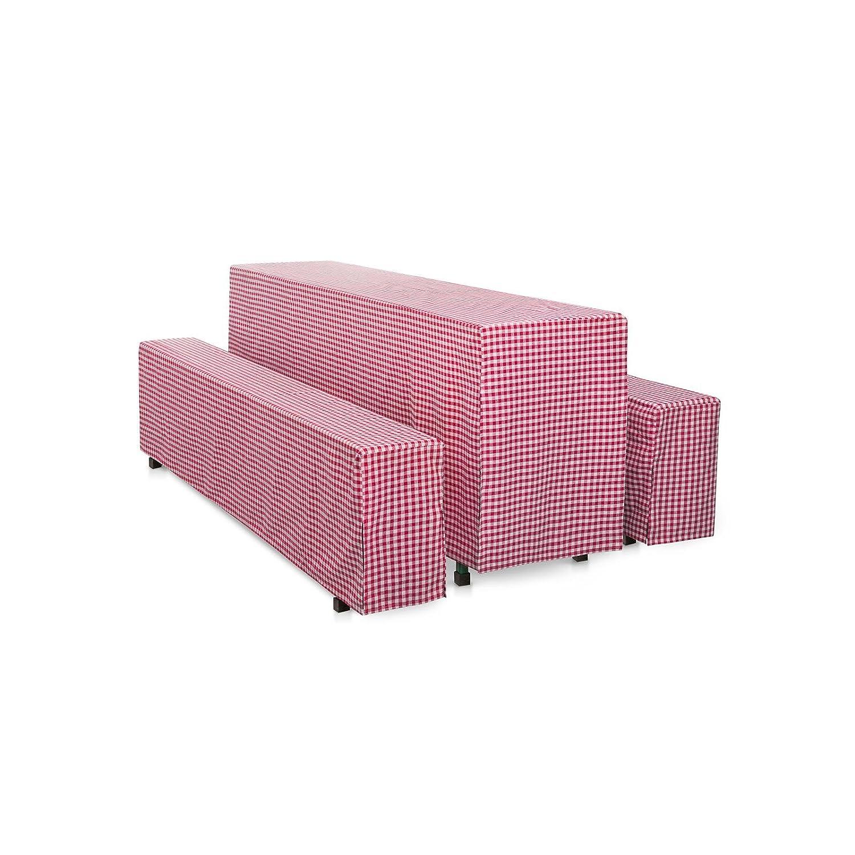 Hans-Textil-Shop Hussen-Set 220x70 cm Karo 1x1 cm Rot Baumwolle
