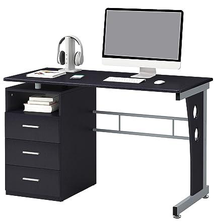 Scrivania Porta Pc Nero.Sixbros Office Scrivania Porta Pc Tavolo Ufficio Colore Nero