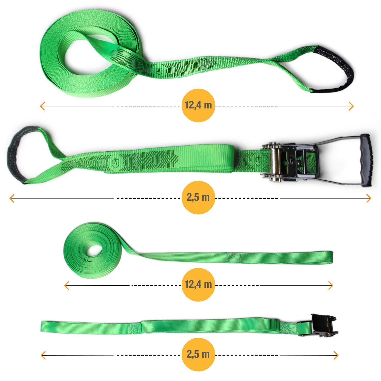 Instrucciones Protectores de /árbol y Bolsa de transporte con tensor 15 m Protecci/ón de tensores Cuerda auxiliar Set de Slackline 12,5 cinta + 2,5 m cuerda en tensor High Pulse Slackline Incl
