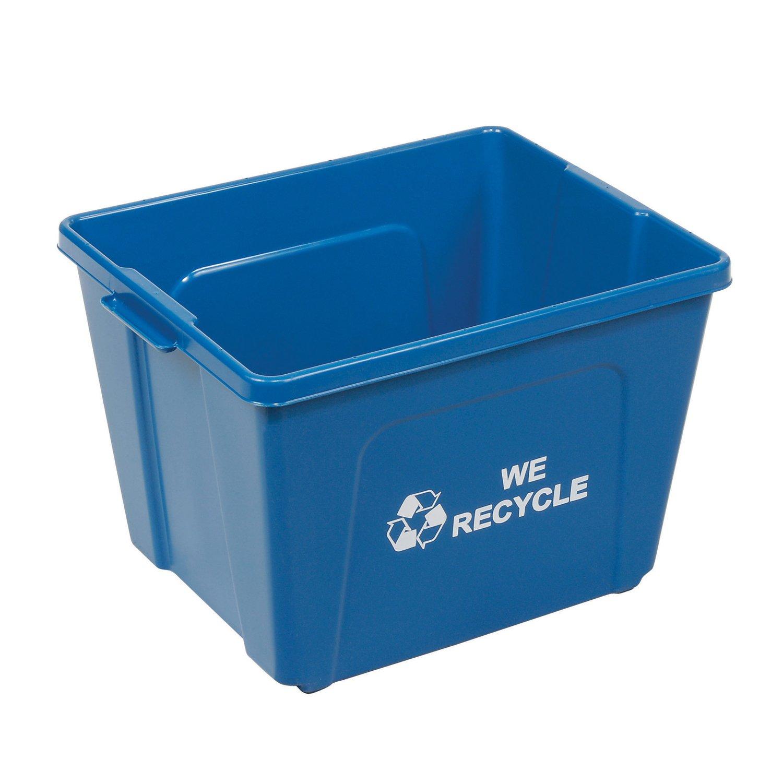 Amazon.com: Recycling Bin, Blue, Plastic, 14 Gallon: Home & Kitchen