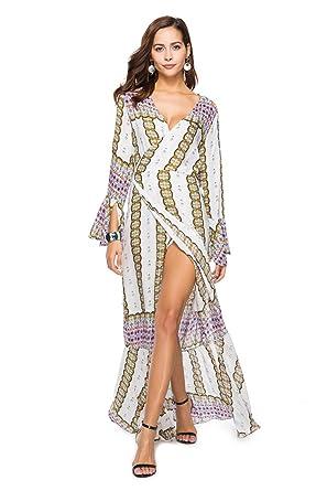 Cimpon Summer Vintage Vestidos Beach Floral Print Trumpet Sleeve Long Maxi Dresses