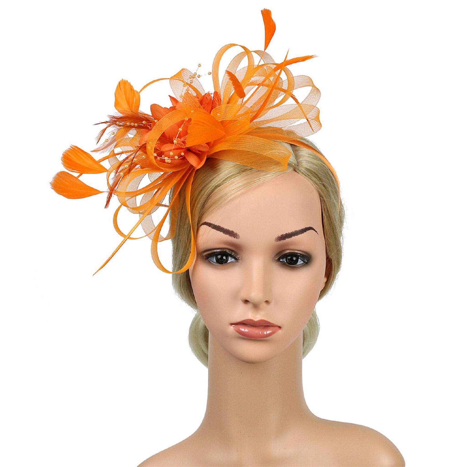 Hattfart Fascinator Flower Feather Fascinators for Women Pillbox Hat for Royal Wedding Deryby Party