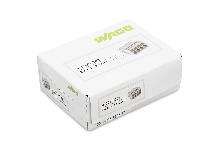 Caja de 50 bornas de conexi/ón rapida para 8 conductores S2273 Wago