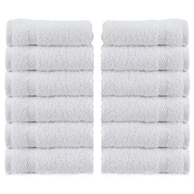 White Luxury Washcloths - Hotel Spa Collection | Circlet Egyptian Cotton | Absorbent Large Bathroom Face Towel | 13x13 Inch | Set of 12 | White
