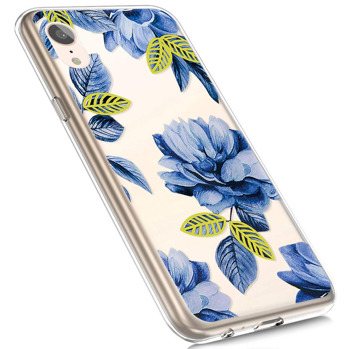 Jinghuash Soft TPU Phone Cases Compatible for iphone XR,Painted Design Slim Anti-Scratch Shockproof Silicone Gel Protection Case Cover for iphone XR,Green Leaf