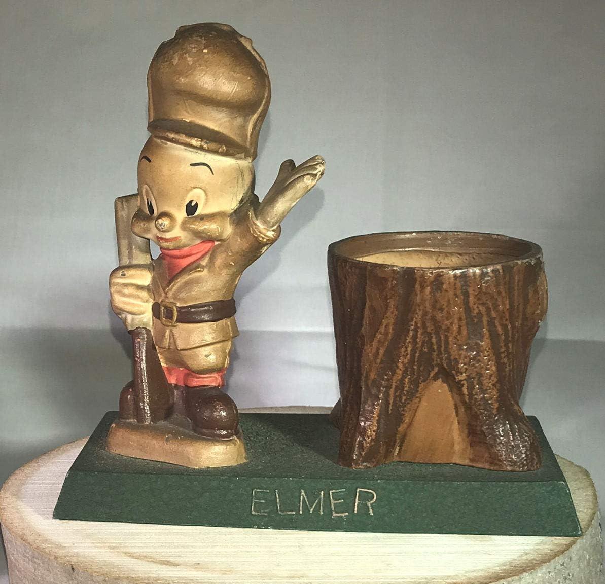 Vintage Cast Metal Elmer Fudd Tree Trunk Pencil Holder 1940s