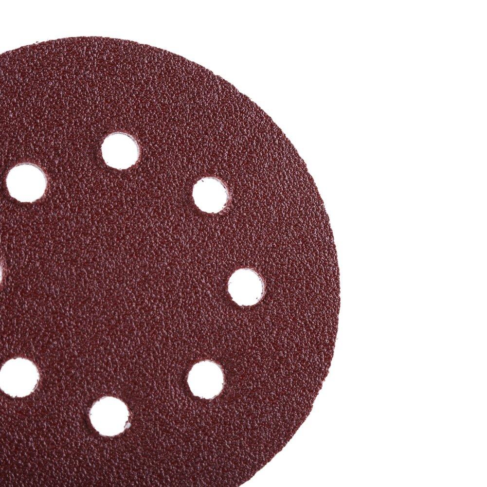 Disco de Lija con 8 Agujeros Zerodis Papel de Lija de 100 Piezas 60//80//100//120//240 Granos Surtidos 125mm Discos de Lijado