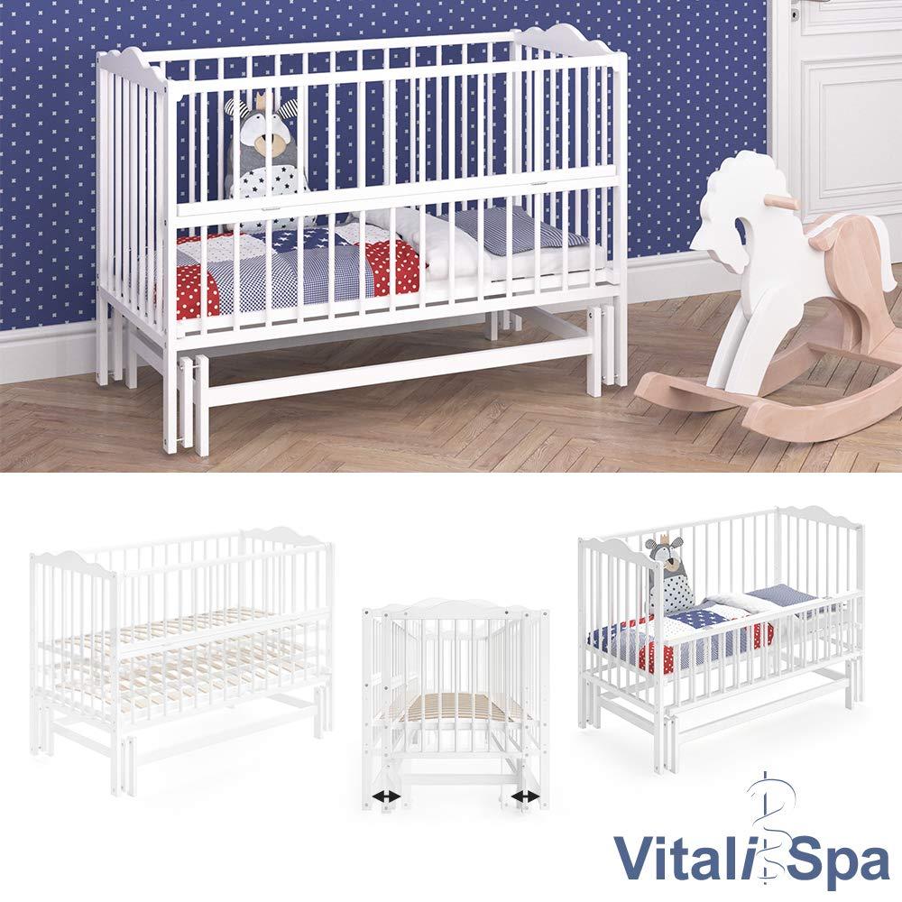 Wei/ß VITALISPA Babybett KONNI 120x60 Babywiege Bett Beistellbett Wiegefunktion
