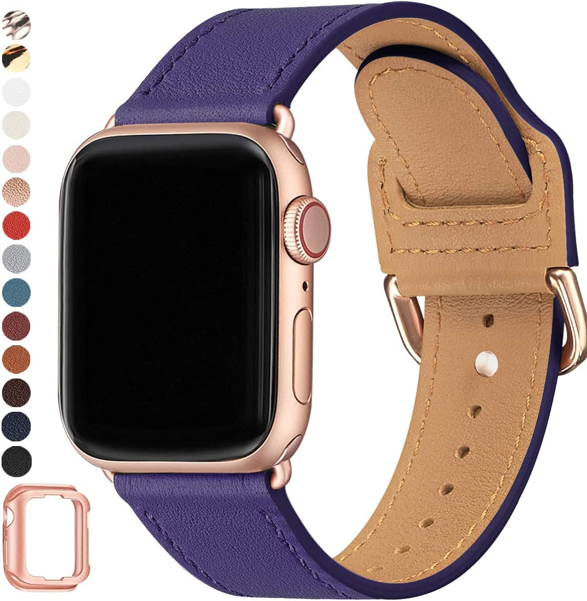 POWER PRIMACY Bands Compatible with Apple Watch Band 38mm 40mm 42mm 44mm, Top Grain Leather Smart Watch Strap Compatible for Men Women iWatch Series 6 5 4 3 2 1,SE (Eggplant purple/Rosegold, 38mm 40mm)