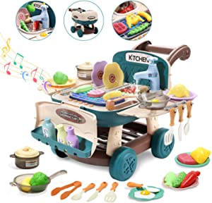 Cute Stone Kids Play Kitchen Toy Shopping Cart Playset,Cooking Toy with Light and Music,Color Change Play Foods, Play Sink Toy, Play Cookwares Pot and Pan,Role Play Simulated Kitchen Toy Gift for Kid