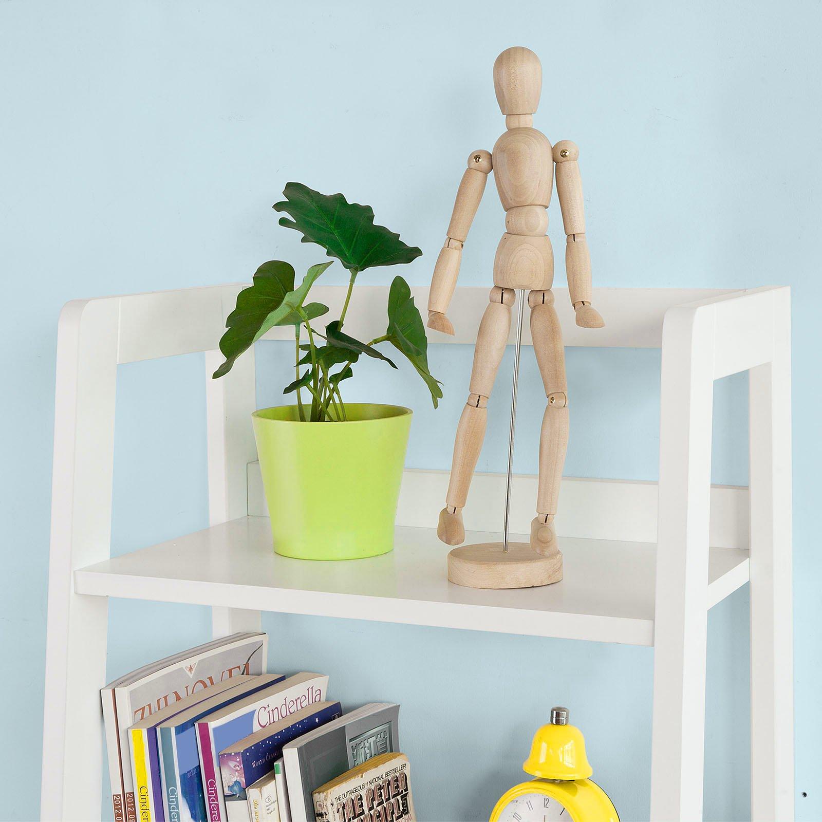 SoBuy Haotian Modern ladder bookcase made of wood, book shelf,stand shelf, wall shelf (FRG116-K-W) by SoBuy (Image #5)