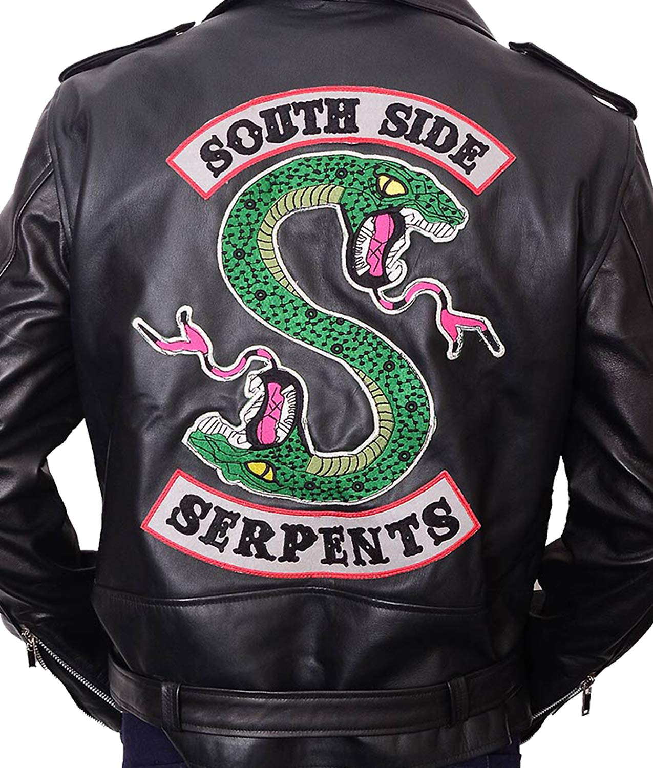 Hemskin Riverdale Cole Sprouse Jughead Jones Southside Serpents Real Leather Jacket (Small, Black)