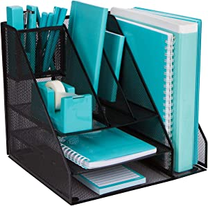 Office Supplies Desk Organizer - Desktop Organizer with 8 Compartments for Paper, Folders, Files, Binders, and Accessories. Office Organizer in Black Steel Mesh for Home, School, Business Organization