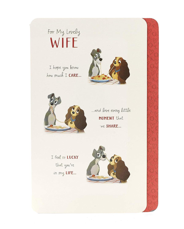 /0-1/Disney Lady and the tramp romantico moglie biglietto di compleanno Carlton 600927/