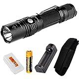 Fenix PD35TAC (PD35 Tactical) 1000 Lumens XP-L LED Flashlight, Genuine Fenix 18650 Battery, a Charger, LumenTac Battery Organizer