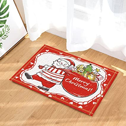 Amazon Com Christmas Bath Rugs Sketch Santa With A Bag Of Gift Non