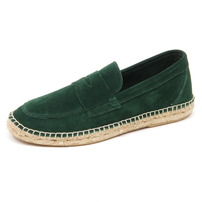 ABARCA D2576 mocassino uomo green leather espadrillas loafer shoe man 40 EU Verde